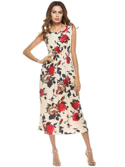 Round Neck Foral Prints Sleeveless Maxi Dress