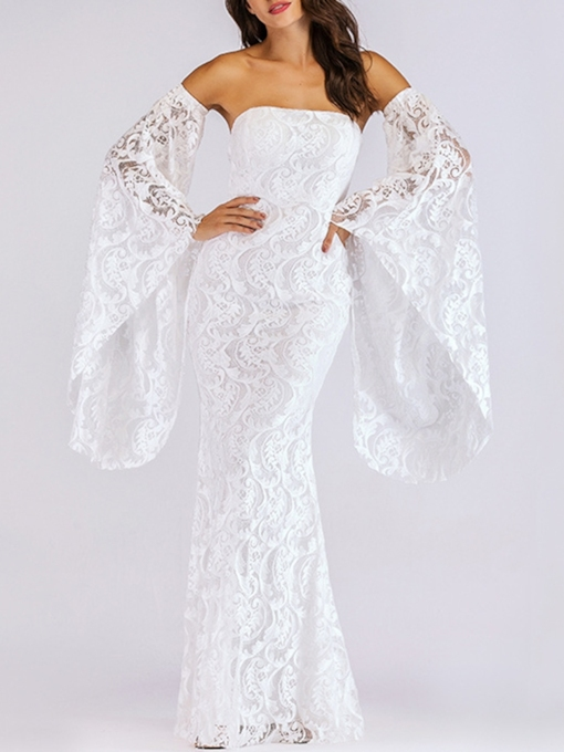 Off Shoulder Bell Sleeve Elegant Lace Dress