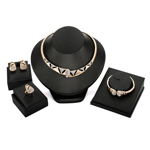 Dazzling Hollow Diamante Four-Piece Jewelry Sets