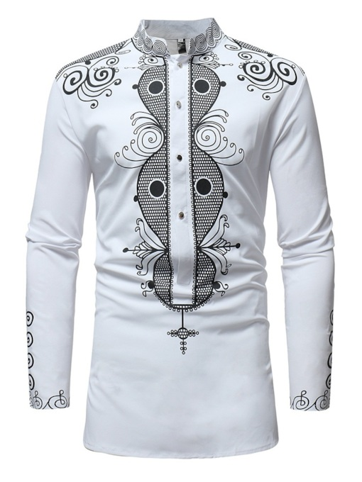 Stand Color Dashiki Style Slim Men's Shirt