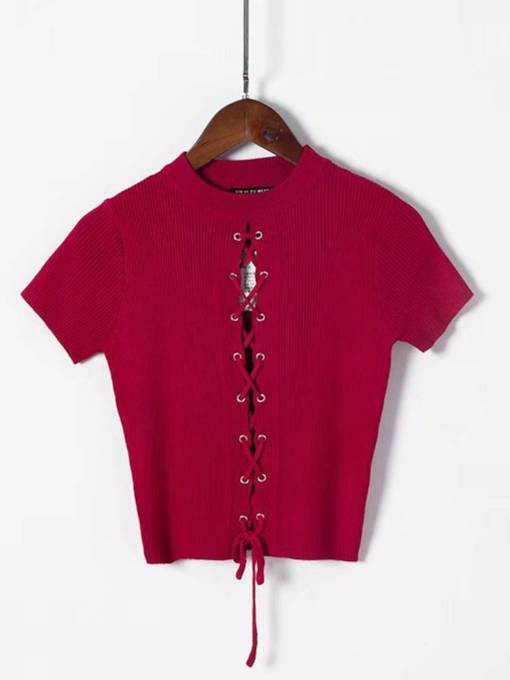 Lace Up Short Sleeve Women's Cropped Sweater
