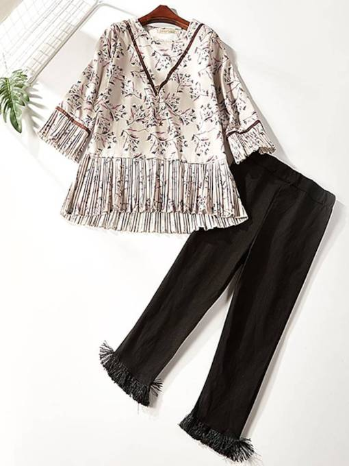 Floral Print Top and Pants Women's Two Piece Set