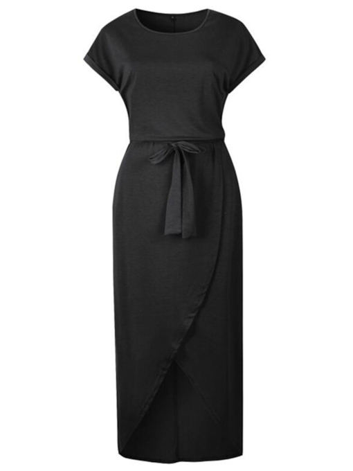 Round Neck Short Sleeve Belt Sheath Dress