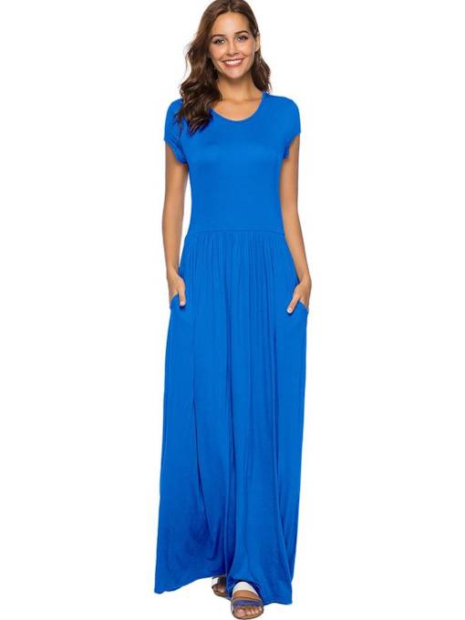 Round Neck Short Sleeve Pocket Maxi Dress