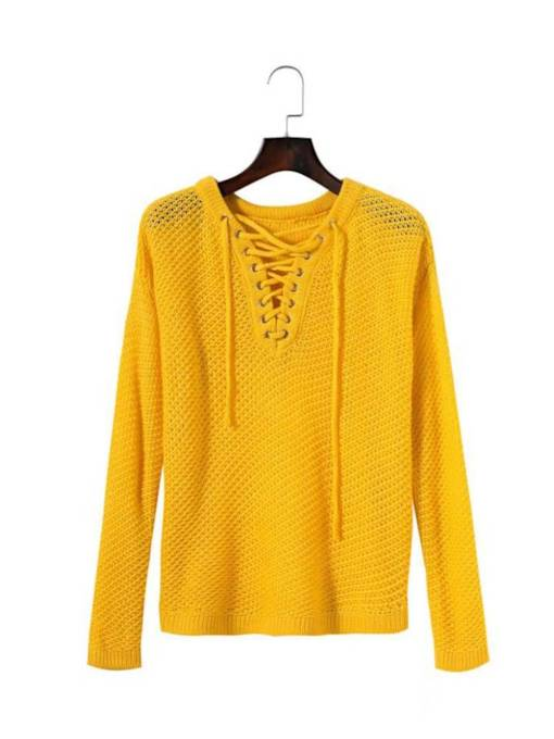 Lace Up Hollow Out Women's Knitted T-Shirt