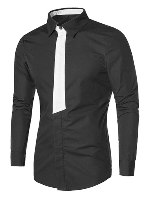Color Block Fake Tie Slim Men's Shirt