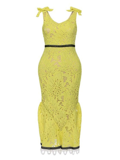 Yellow Sleeveless High Waist Backless Lace Dress