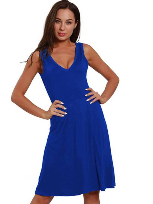 V-Neck Sleeveless Casual Women's Sexy Dress