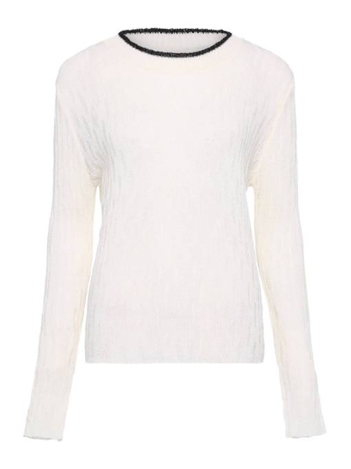 Slim Long Sleeve Round Neck Short Women's Sweater