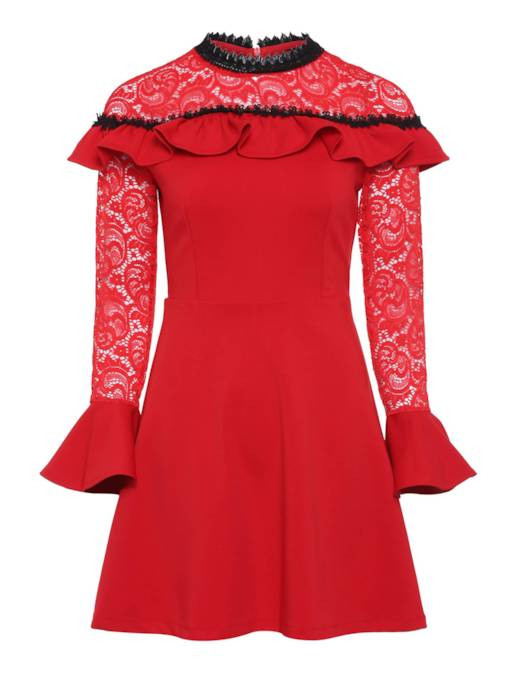 Ruffle Shoulder Long Sleeve Lace Dress