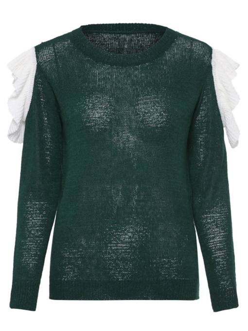 Falbala Contrast Color Round Neck Women's Sweater