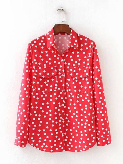 Polka Dot Button Down Women's Shirt