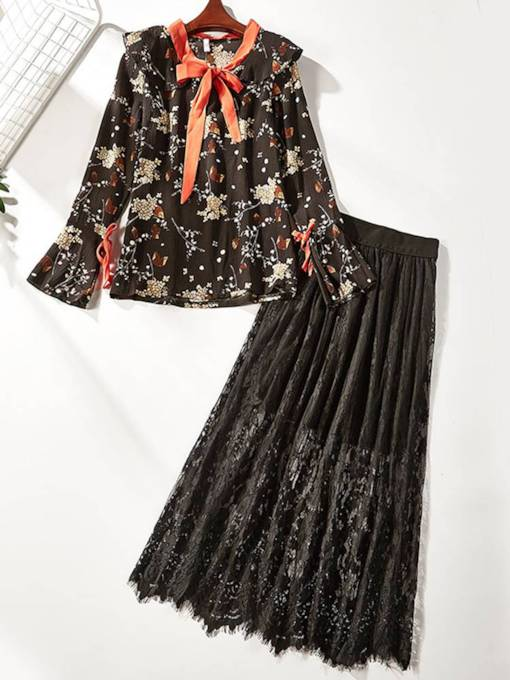 Floral Shirt and Skirt Women's Two Piece Set