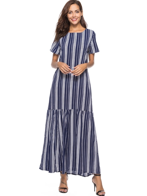 Round Neck Short Sleeve Casual Maxi Dress