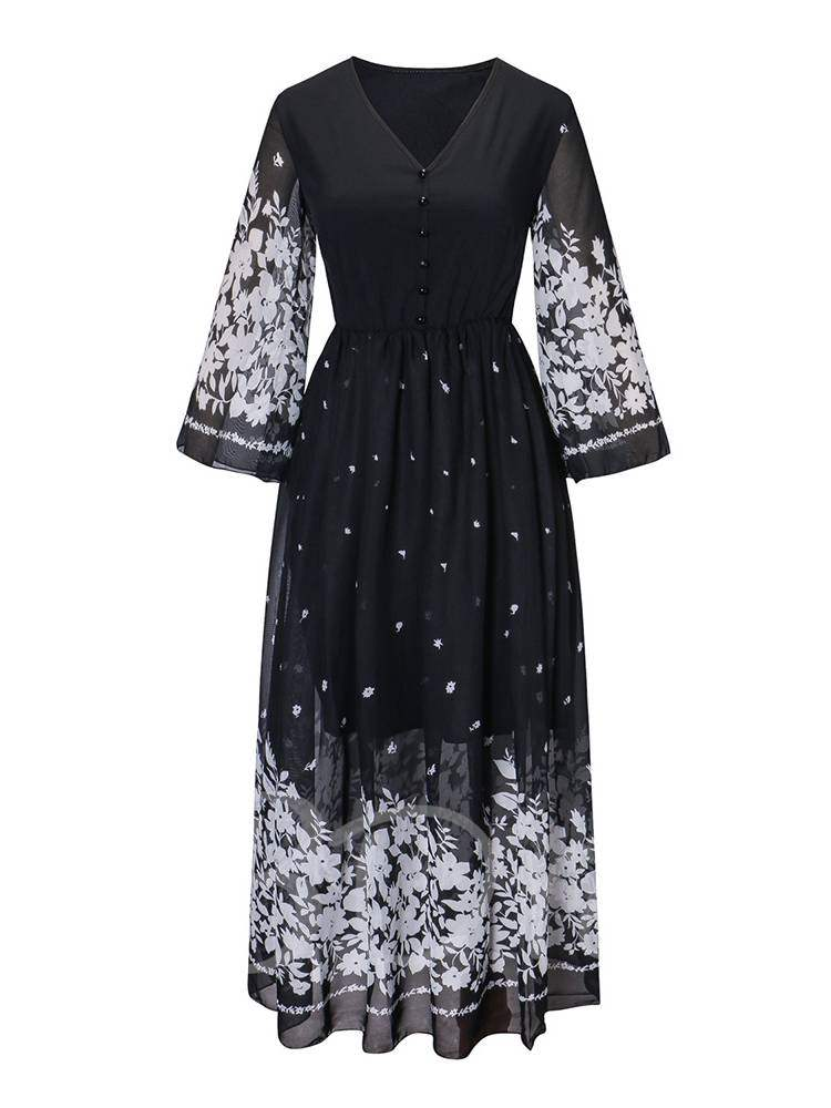 Buy V-Neck Button Prints Zip Women's Day Dress, Fall, 13368918 for $16.18 in TBDress store