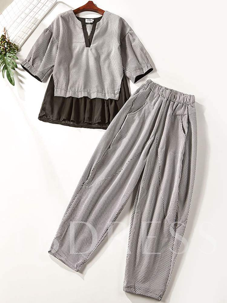 Buy Color Block Stripe T-Shirt and Pants Women's Two Piece Set, Summer, 13368151 for $15.04 in TBDress store