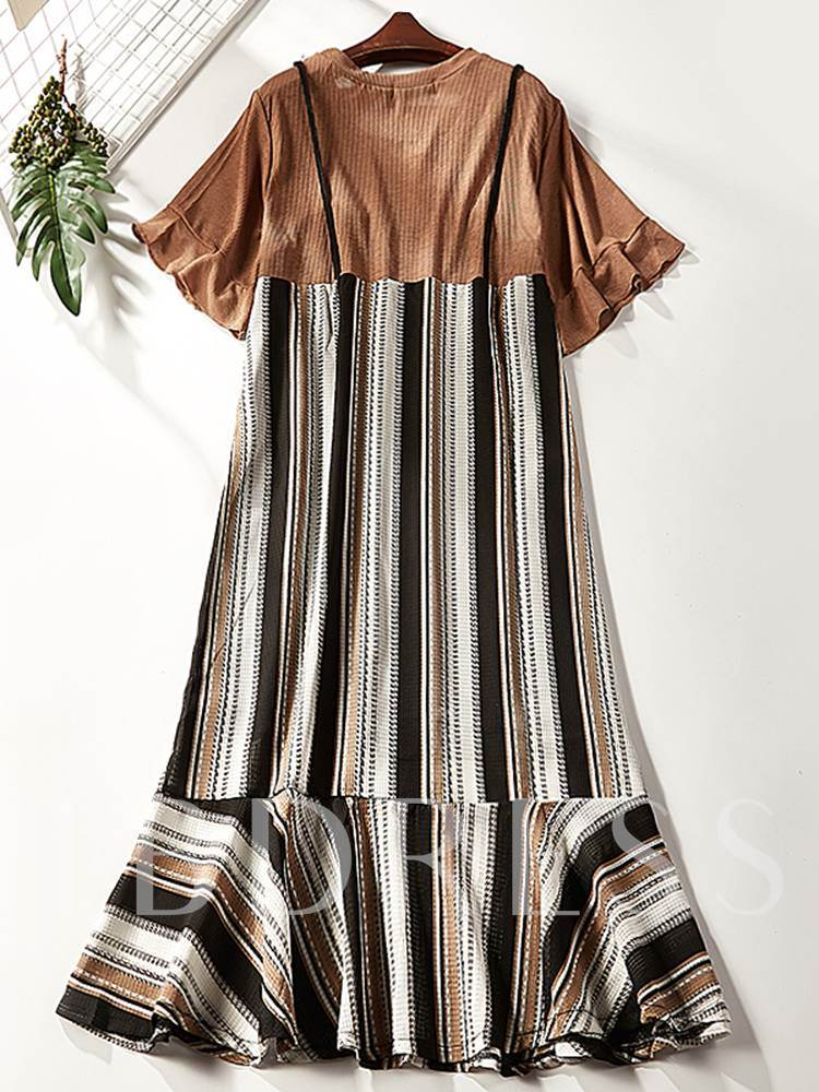 Round Neck Casual Stripe A-Line Dress