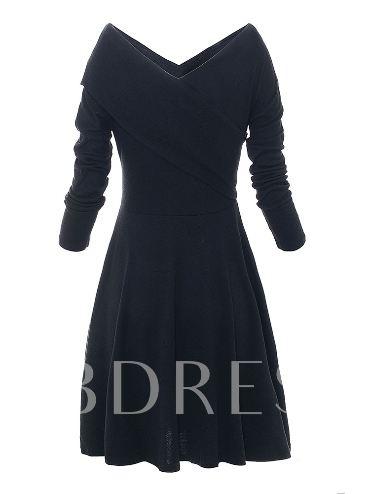 Off Shoulder Long Sleeve Elegant A-Line Dress