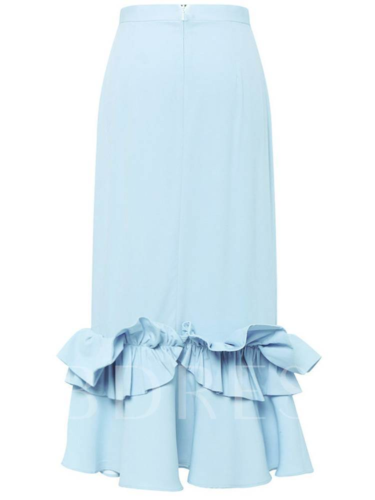 Plain Ruffle Patchwork Long Women's Skirt