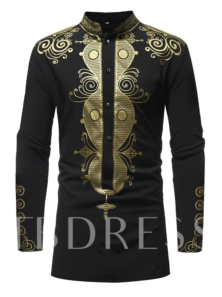 African Fashion Stand Color Dashiki Style Slim Men's Shirt