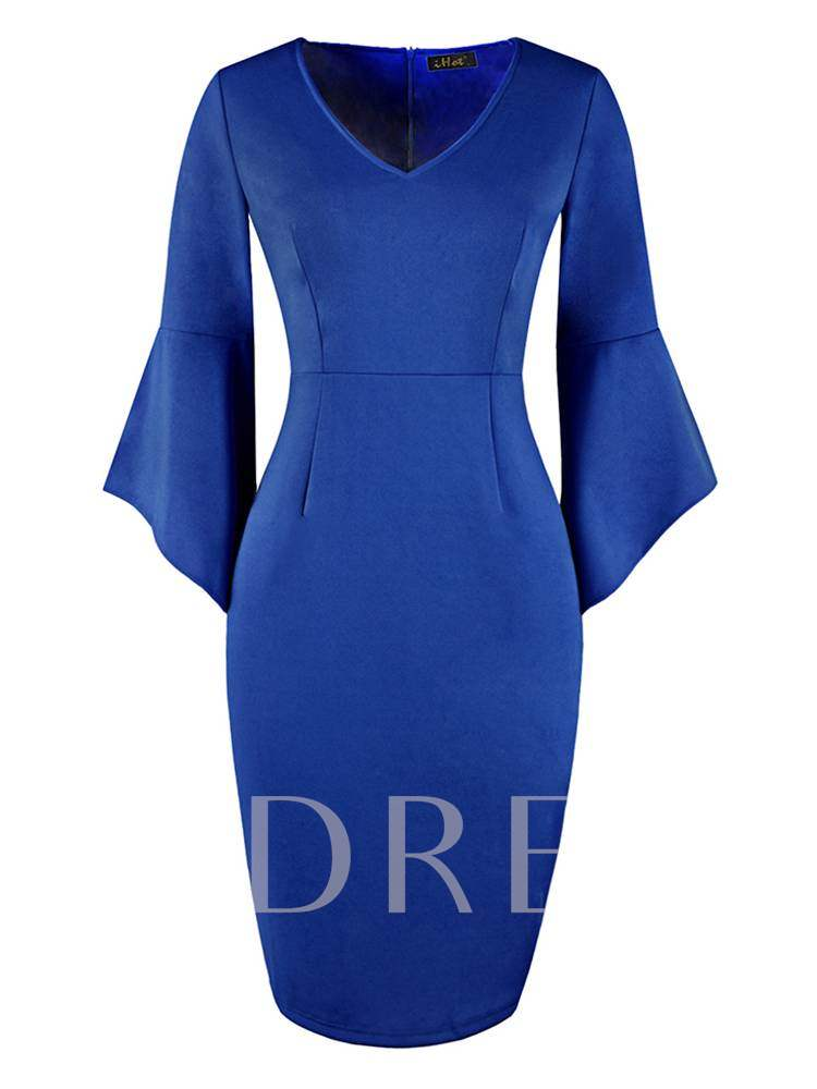 Buy V-Neck Plain Flare Sleeve Bodycon Dress, Summer,Fall, 13368709 for $17.65 in TBDress store