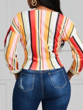 Color Block Stripe V-Neck Women's Blouse