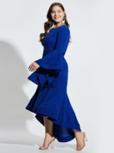 Plus Size Royal Blue Ruffle Bell Sleeve Bodycon Dress