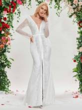 Deep V-Neck Mermaid Fur Lace Wedding Dress