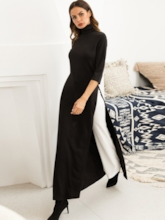 Split Turtle Neck Women's Maxi Dress