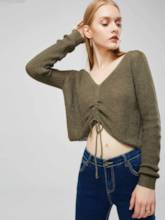 Ruched V-Neck Lace Up Women's Cropped Sweater