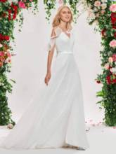 Straps Open Shoulder Beach Wedding Dress