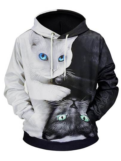 Hooded Cat Print Loose Mens Hoodie Hooded Cat Print Loose Men's Hoodie
