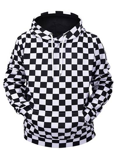 Black White Plaid Loose Mens Hoodie Black White Plaid Loose Men's Hoodie