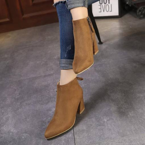 Lace-Up Pointed Toe Suede Chunky Heel Women's Ankle Boots