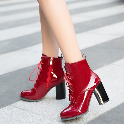 Round Toe Side Zipper Chunky Heel Women's Ankle Boots