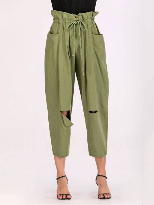 Casual Hole Elastic Waist Drawstring Women's Olive Pants