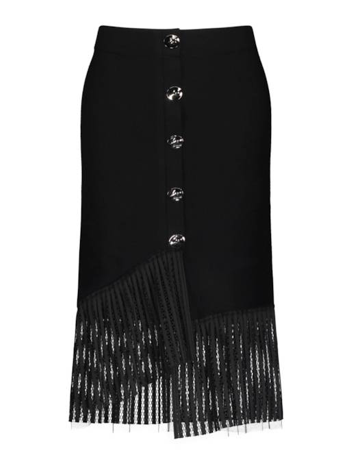 Pleated Patchwork Button Front Women's Maxi Skirt