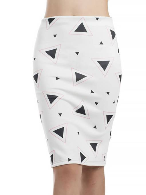 Print Split Knee-Length Women's Bodycon Skirt