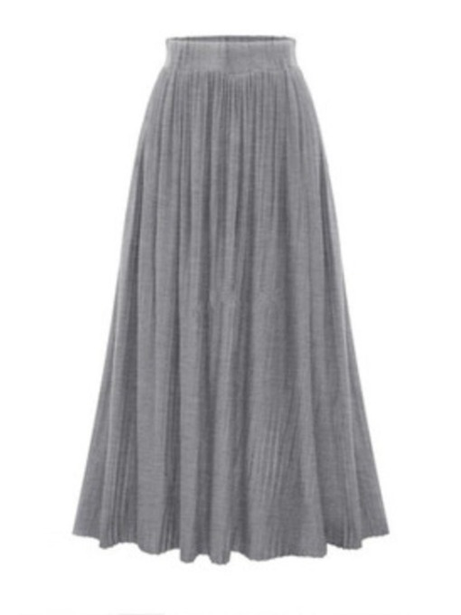High Waist Pleated Long Women's Skirt