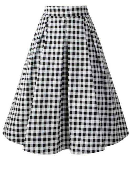 Gingham Print Pleated Mid Calf Women's Skirt
