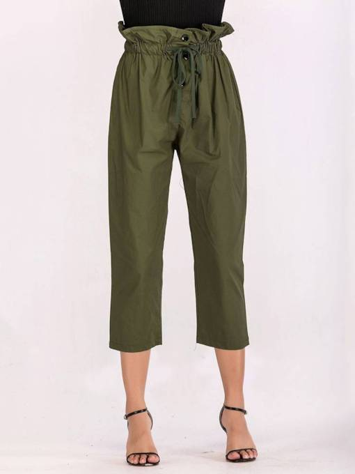Drawstring Ealstic Waist Women's Olive Cropped Pants