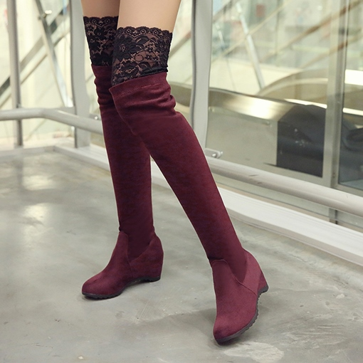 Lace Round Toe Slip-On Thigh High Boots for Women