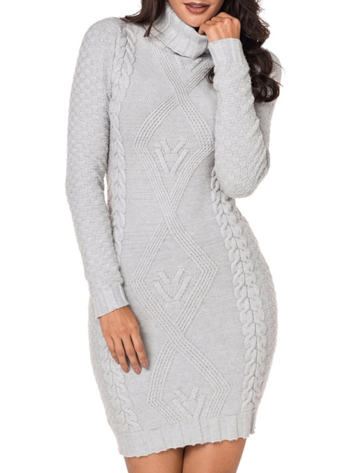 Solid Color Turtle Neck Women's Sweater Dress