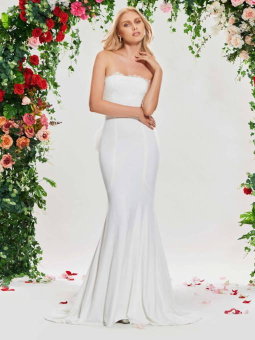 Strapless Lace Mermaid Wedding Dress with Train