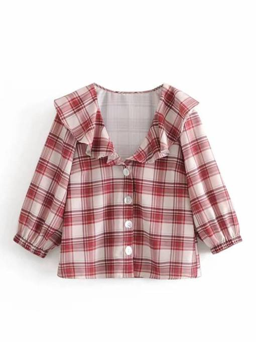 Peter Pan Collar Single-Breasted Plaid Women's Shirt