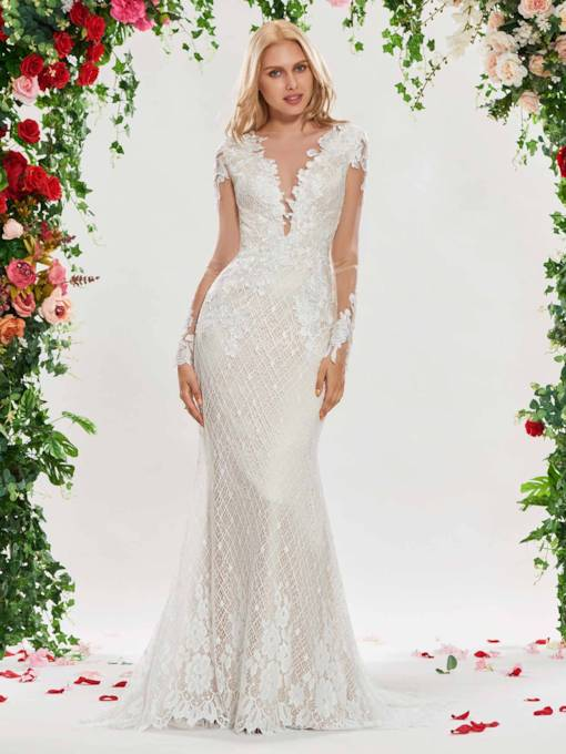 Mermaid Lace Wedding Dress with Long Sleeves