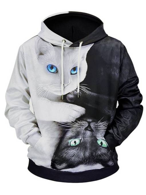 Hooded Cat Print Loose Men's Hoodie