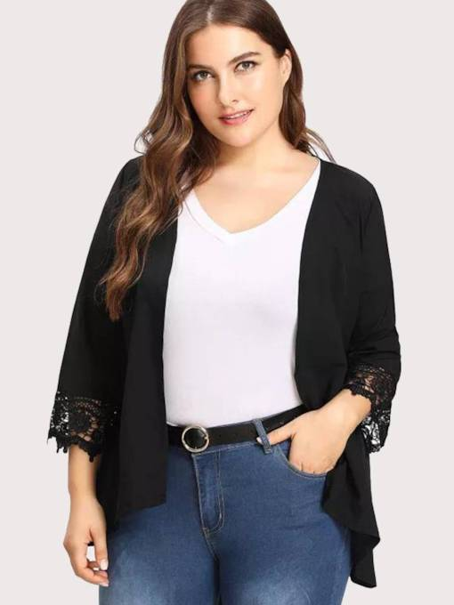 Plus Size Flare Sleeve Lace Patchwork Open Front Women's Jacket