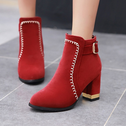 Thread Buckle Chunky Heel Back Zip Fashion Women's Ankle Boots