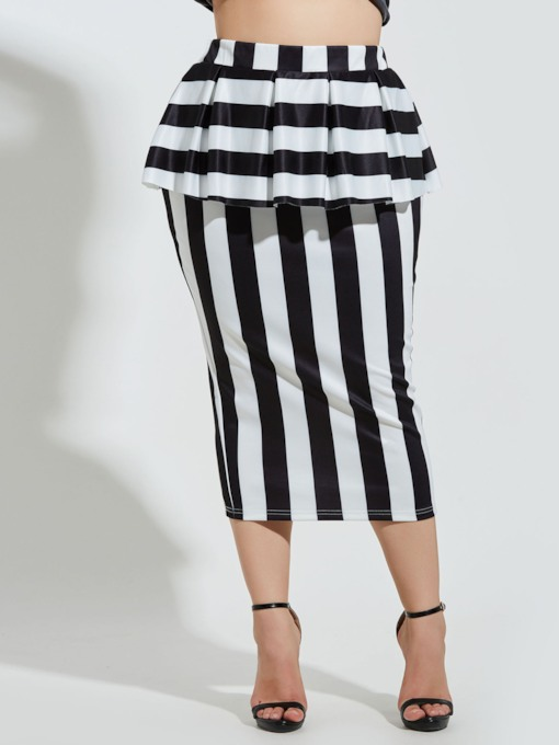 Plus Size Stripe Bodycon Patchwork Ruffled Women's Skirt